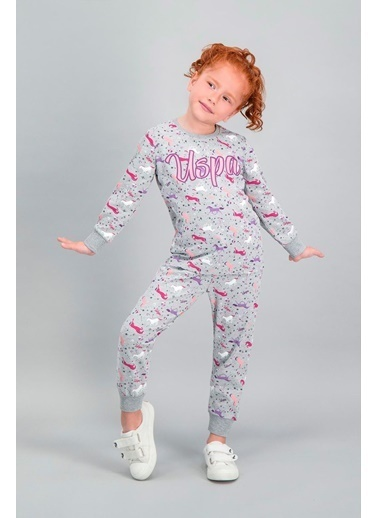 U.S. Polo Assn. U.S. Polo Assn Lisanslı Grimelanj Kız Çocuk Pijama Takımı Gri